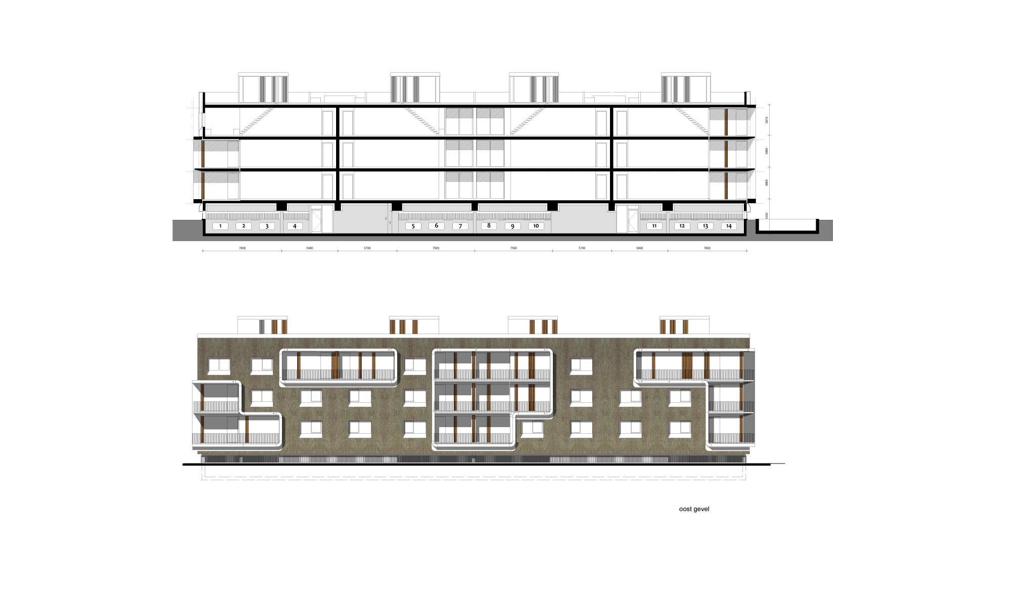 Simone Drost Architecture Planet Pab Architecture Appartementen Stadhouderspark Vught geveltekening en doorsnede